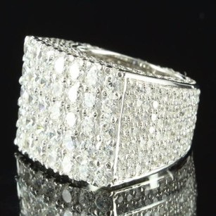 14k White Gold Finish Lab Diamond 360 Iced Out Sterling Silver Casual Ring Band