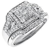 Other 14k White Gold Invisible Princess Diamond Bridal Wedding Ring 1.25ct.