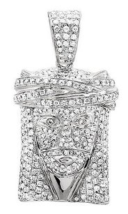 14k White Gold Jesus Face Piece Genuine Diamond 1.25 Inch Pendant Charm 2.50ct.