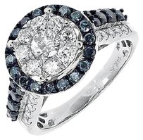Other 14k White Gold Ladies Blue White Cluster Diamond Engagement Fashion Ring 1.97 Ct