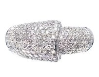 14k White Gold Ladies Round Cut Pave Set Diamond Fashion Dome Ring 1.36ct