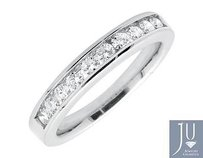 14k White Gold One Row Channel Round Diamond Engagement Wedding Ring Band 0.50ct