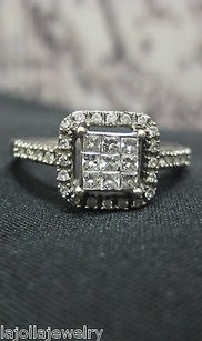 Other 14k White Gold Princess Cut Invisible Set Round Diamonds Ladies Ring
