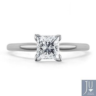 14k White Gold Princess Cut Solitaire Diamond Engagement Promise Ring 12 Ct