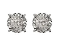 14k White Gold Princess Invisible Cluster Diamond Stud Earrings 1.0ct 11mm