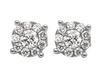 14k White Gold Solitaire Illusion Halo Genuine Diamond Stud Earrings 1.25ct 8mm