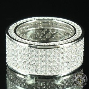 14k White Gold Sterling Silver Men Row Cubic Zircon Groom Band Pinky Ring Sale