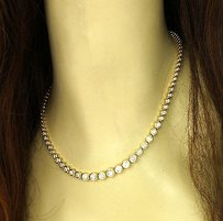 Other 14k Yellow Gold 10ctw Round Cut Diamond Ladies Tennis Necklace