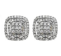 14k Yellow Gold 11mm Cushion Shape Double Halo Diamond Stud Earrings 0.50ct