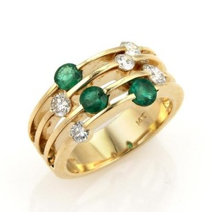 14k Yellow Gold 1.75ct Diamonds Emerald Four Rows Open Wide Ring