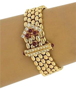 Other 14k Yellow Gold 1.90ctw Diamond Ruby Panther Design Bracelet