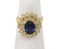 Other 14k Yellow Gold 5.16ctw Diamond Sapphire Ladies Cocktail Ring