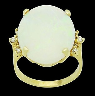 14k Yellow Gold 5.72 Carats Tcw Diamond And Opal Ring 7.1g R649