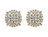 14k Yellow Gold 9mm Halo Flower-shaped Quad Genuine Diamond Stud Earring 2.0ct