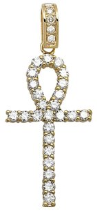 14k Yellow Gold Ankh Cross One Row Genuine Diamond Inch Pendant Charm 3.50ct.
