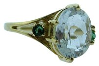 Other 14k Yellow Gold Clear Stone Ladies Ring W Ring Guard
