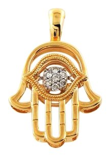 14k Yellow Gold Hamsa Floating Diamonds Pendant