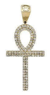 Other 14k Yellow Gold Inch Egyptian Ankh Cross Two Row Diamond Charm Pendant 1.25ct