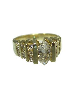 14k Yellow Gold Marquise 34 Ct Diamond Ladies Ring 7.25