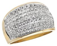 14k Yellow Gold Mens Wave Paved Iced Real Vs Diamond Pinky Band Ring 3.0ct