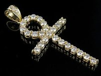 14k Yellow Gold One Row High End Egyptian Ankh Cross Vs Diamond Pendant Ct