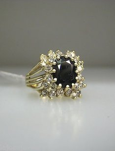 14k Yellow Gold Sapphire Diamonds Ladies Ring
