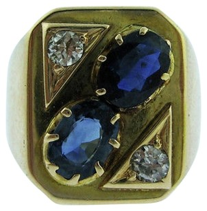 14k Yellow Gold Sapphire Diamonds Mens Ring