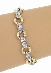 Other 14k Yellow White Gold 2.0ctw Diamond Fancy Loop Link Bracelet