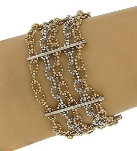 14k Yellow White Gold Multi-strand Beaded Fancy Design Wide Bracelet