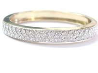 Other 14kt Round Cut Diamond 3-row Yellow Gold Wide Bangle Bracelet 3.26ct