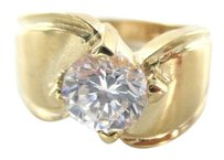 14KT SOLID YELLOW GOLD RING SZ 3 SOLITAIRE WHITE STONE FINE JEWELRY WEDDING BAND