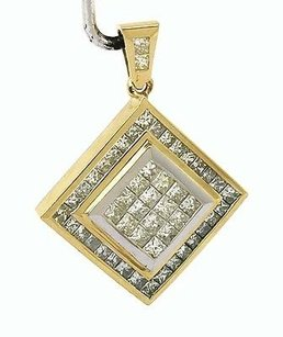 Other 14kt Two Tone Gold 5ctw Princess Cut Fancy Yellow White Diamond Pendant