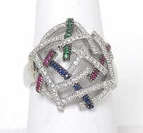 14kt White Gold 1.29ctw Diamonds Multi-color Gemstone Open Dome Design Ring