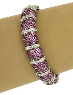 Other 14kt White Gold 8.75ctw Diamond Pink Sapphire Braceletbangle