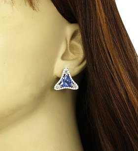 Other 14kt White Gold 8ctw Tanzanite Diamond Fancy Design Stud Earrings