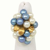 14kt Yellow Gold Cultured Blue White Pearls Ladies Cluster Ring