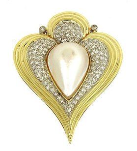 Other 1.75ct Diamonds Mabe Pearl 14k Gold Fancy Heart Shaped Pendant