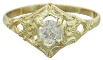 1880s Antique Victorian Estate Women's 14k Yellow Gold Solitaire Diamond Engagement Ring