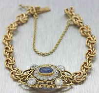 1890s Antique Victorian 14k Yellow Gold 1.50ct Diamond 0.75ct Sapphire Bracelet