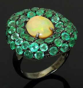 18k Black Rhodium 18k Gold Carats Tcw Emeralds And Opal Ring R338