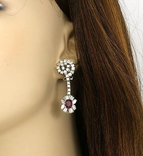 18k Gold 5.8 Cts Diamonds 3.34 Cts Rubies Ladies Dangle Earrings
