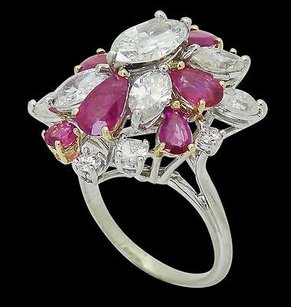18k Gold Apx Carat Tcw Marquise Diamond Pear Cut Ruby Cluster Ring R680