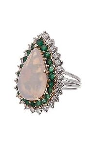18k Gold Platinum Opal Emerald Diamond Cocktail Ring Size 8