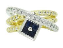 18k Multi Tone Gold Platinum Diamond Blue Sapphire Crossover Ring R743