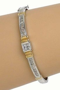 18k Two Tone Gold 1.35ctw Princess Baguette Cut Diamond Bangle