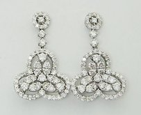18k White Gold 2.20 Tcw Diamond Drop Dangle Earrings E45