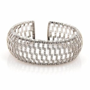Other 18k White Gold 3ct Diamonds 24mm Wide Open Dome Cuff Band Bracelet