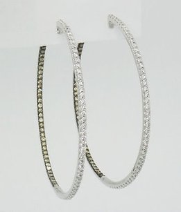 Other 18k White Gold 4tcw White Fancy Brown Diamonds Inside Out Hoop Earrings E43