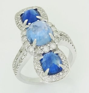 18k White Gold Carat Sapphire 1.00 Ct Diamond Unique Ring R336