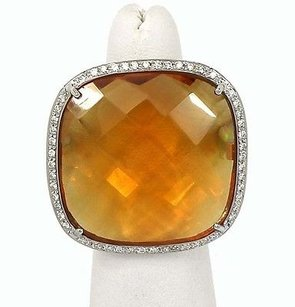 18k White Gold Diamond Orange Quartz Ladies Cocktail Ring